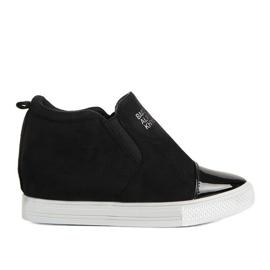 Czarne sneakersy na koturnie DD394-4 1