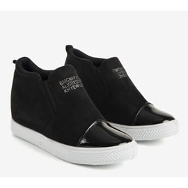 Czarne sneakersy na koturnie DD394-4 2