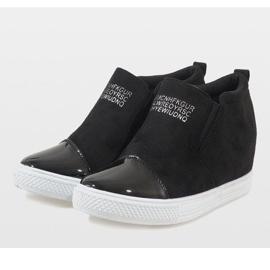 Czarne sneakersy na koturnie DD394-4 4
