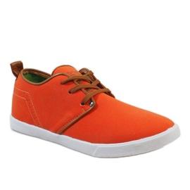 Pomarańczowe sznurowane trampki męskie M-021 1