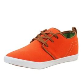 Pomarańczowe sznurowane trampki męskie M-021 2