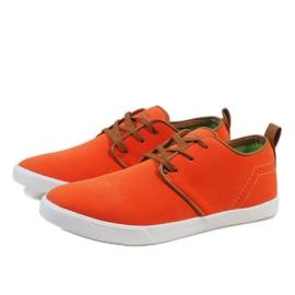 Pomarańczowe sznurowane trampki męskie M-021 3