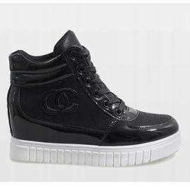 Czarne sneakersy na koturnie NB83P 2