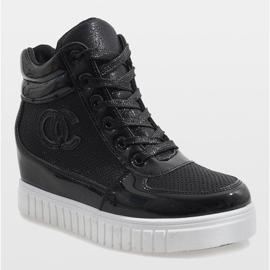 Czarne sneakersy na koturnie NB83P 1
