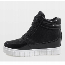 Czarne sneakersy na koturnie NB83P 3