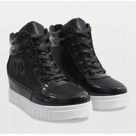 Czarne sneakersy na koturnie NB83P 5