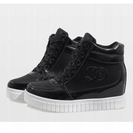 Czarne sneakersy na koturnie NB83P 6