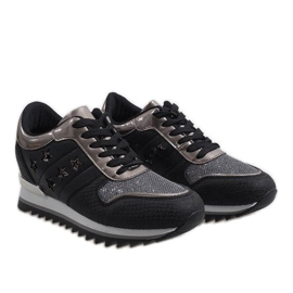 Czarne sneakersy na koturnie G-127 3