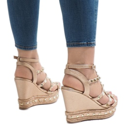 Miedziane sandały koturny VS-368 3