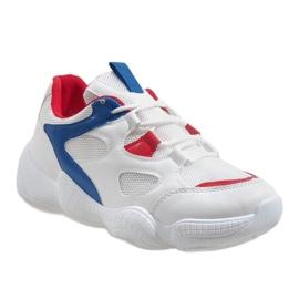 Czerwone modne obuwie sportowe 2018-15 białe 1