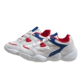 Czerwone modne obuwie sportowe 2018-15 białe 4
