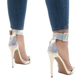 Srebrne sandały szpilki opalizujące L1543 szare 4