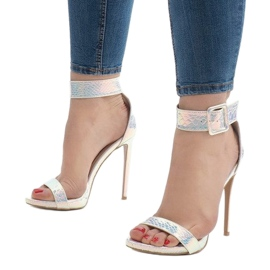 Srebrne sandały szpilki opalizujące L1543 szare 1