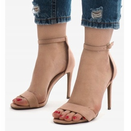 Różowe sandały na szpilce zamsz SY-31P 1