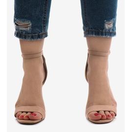 Różowe sandały na szpilce zamsz SY-31P 2