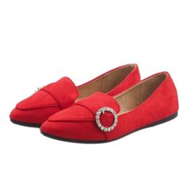 Czerwone mokasyny balerinki DY-01 1