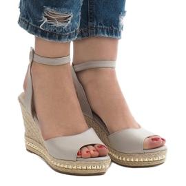 Szare sandały koturny 2084-5 2
