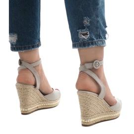 Szare sandały koturny 2084-5 3