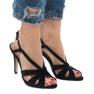 Czarne zamszowe sandały szpilki 9095-138 zdjęcie 2