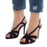 Czarne zamszowe sandały szpilki 9095-138 zdjęcie 1