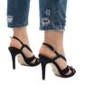 Czarne zamszowe sandały szpilki 9095-138 zdjęcie 4