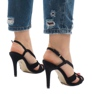 Czarne zamszowe sandały szpilki 9095-138 4
