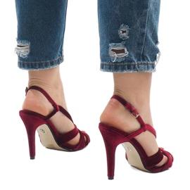 Czerwone zamszowe sandały szpilki 9095-138 4