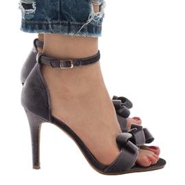Szare zamszowe sandały szpilki kokardka LB-291 2
