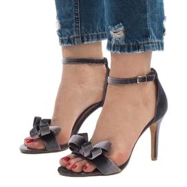 Szare zamszowe sandały szpilki kokardka LB-291 1