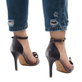 Szare zamszowe sandały szpilki kokardka LB-291 5