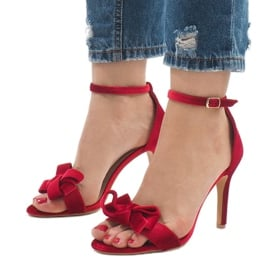 Czerwone zamszowe sandały szpilki kokardka LB-291 1