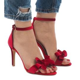 Czerwone zamszowe sandały szpilki kokardka LB-291 2