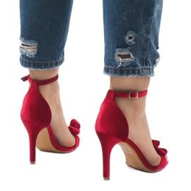 Czerwone zamszowe sandały szpilki kokardka LB-291 4
