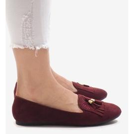 Bordowe mokasyny balerinki z frędzlami H7207 czerwone 1