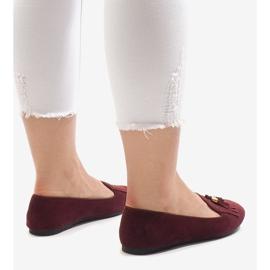 Bordowe mokasyny balerinki z frędzlami H7207 czerwone 3