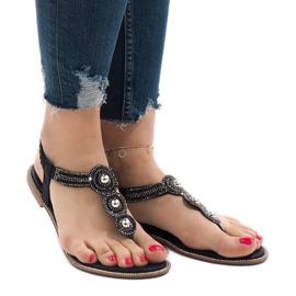 Czarne japonki gumka zdobione sandały ST3107Y 2