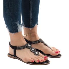 Czarne japonki gumka zdobione sandały ST3107Y 1
