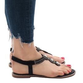 Czarne japonki gumka zdobione sandały ST3107Y 3