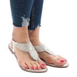 Srebrne sandały japonki zdobione JN1359-2 szare 2