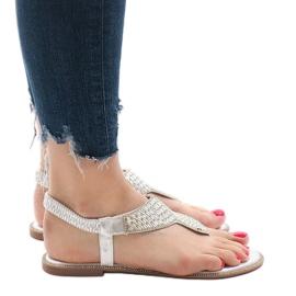 Srebrne sandały japonki zdobione JN1359-2 szare 3