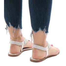 Srebrne sandały japonki zdobione JN1359-2 szare 4