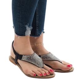 Czarne sandały japonki zdobione JN1359-2 2