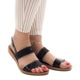 Czarne sandały z cekinami G-515-01 2