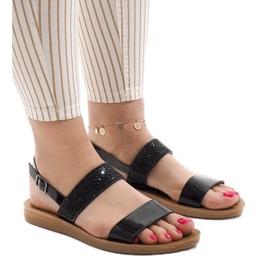 Czarne sandały z cekinami G-515-01 1