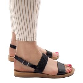 Czarne sandały z cekinami G-515-01 3