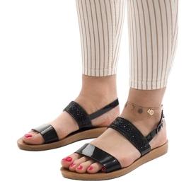 Czarne sandały z cekinami G-515-01 4