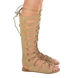 Beżowe płaskie sandały gladiatorki 289-9 brązowe 2