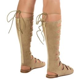 Beżowe płaskie sandały gladiatorki 289-9 brązowe 3