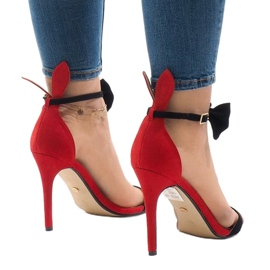 Czerwone zamszowe sandałki szpilki kokardka ZJ-15P 2