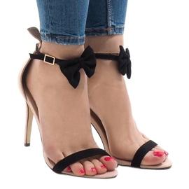 Różowe zamszowe sandałki szpilki kokardka JZ-6334 1